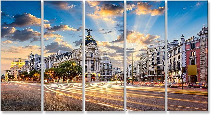 islandburner Cuadro Cuadros Madrid, España, Ciudad en la Calle de Alcalá y la Gran Vía Impresión sobre Lienzo - Formato Grande - Cuadros Modernos: Amazon.es: Hogar