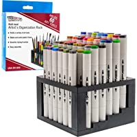 U.S. Art Supply 60 Hole Multi-Level Plastic Organization Rack Pencil, Brush & Supply Holder - Desk Stand Holding Rack…