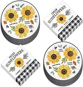 Black and White Buffalo Plaid & Sunflower Harvest Paper Dessert Plates and Beverage Napkins (Serves 16)