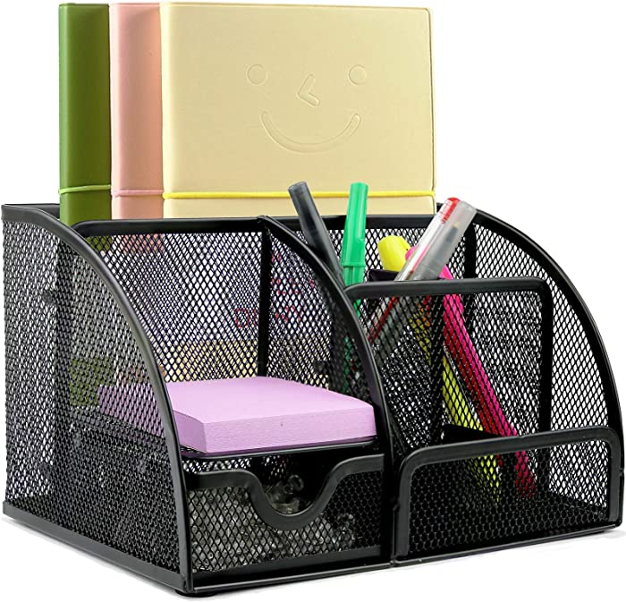 Greenco Mesh Desk Organizer Office Supplies Caddy, 6 Compartments - Black