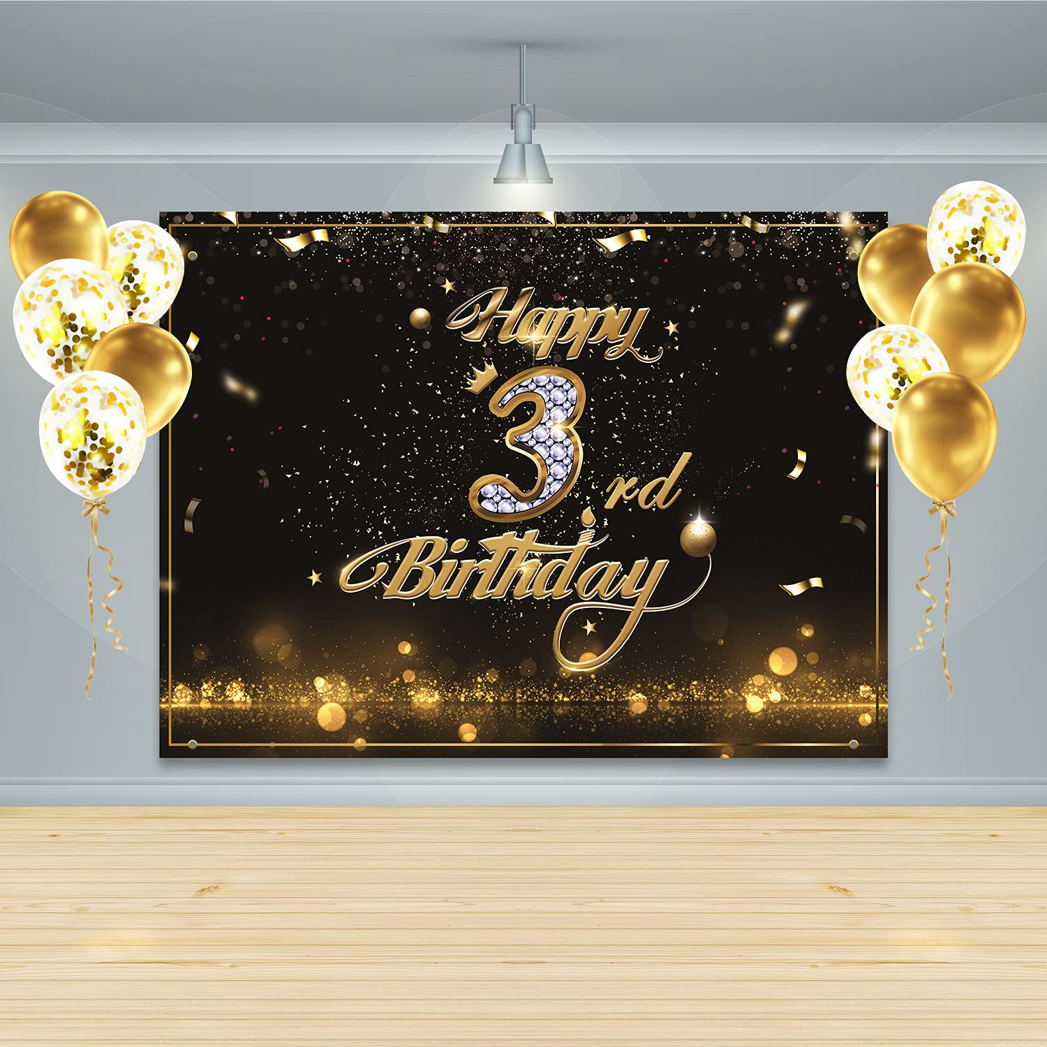 Gatherfun Birthday Party Supplies Happy 3rd Birthday Banner Backdrop with 10 Pcs balloons Black Gold Birthday Party Large Background Photo Props for Boys and Girls 3 Birthday Decorations
