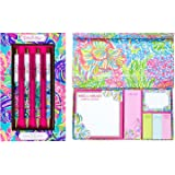 Lilly Pulitzer Pen Set and Accessory Bundle (LP Assorted Pen Set, Exotic Garden Sticky Note)