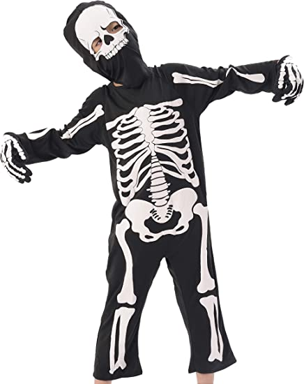 Skelebones Skeleton Bones Halloween Horror Childs Kids Girls Fancy Dress New