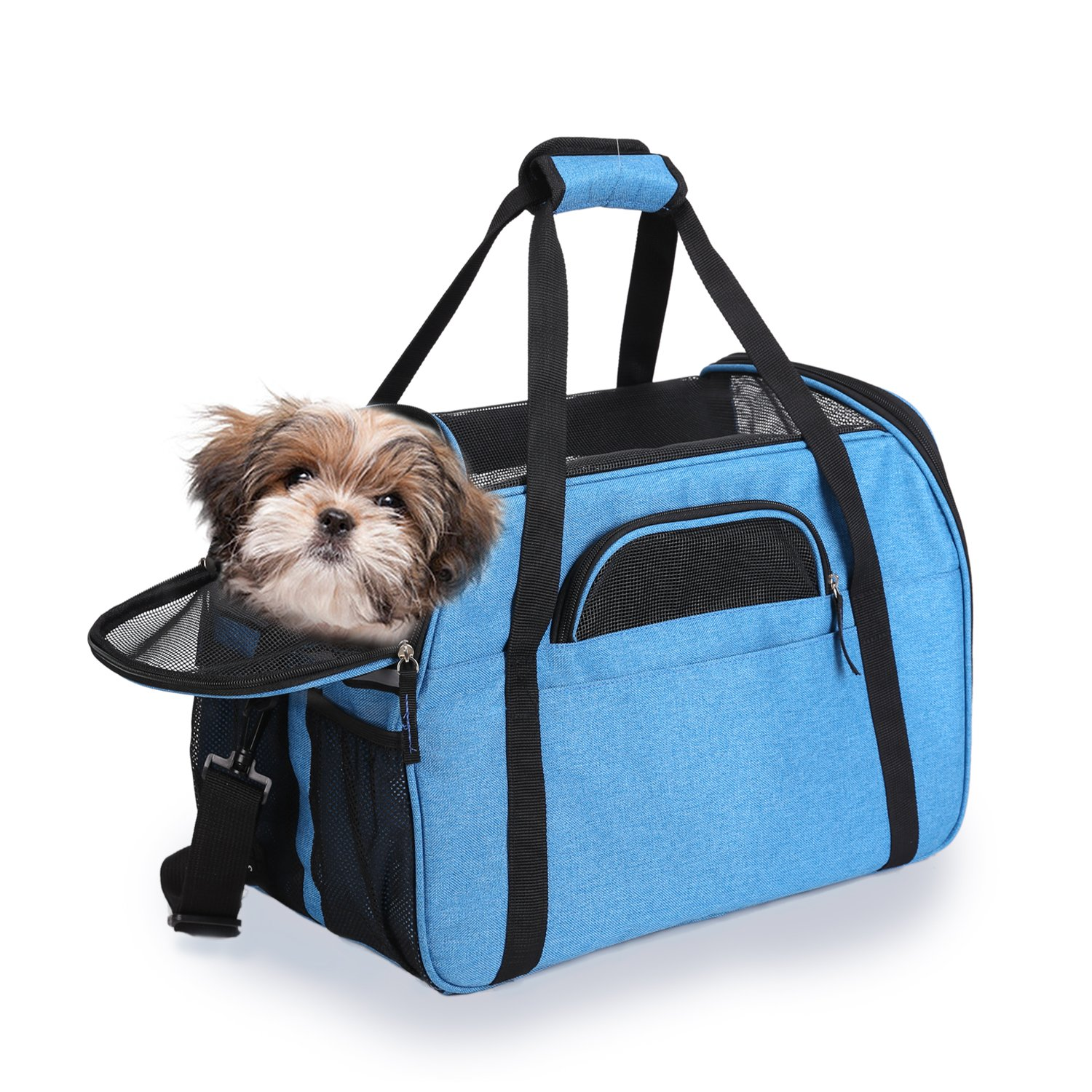 Jespet Soft Sided Pet Carrier Comfort 19'' for Travel, Portable Dog Tote Bag for Small Animals, Cats, Kitten, Puppy, Turquoise
