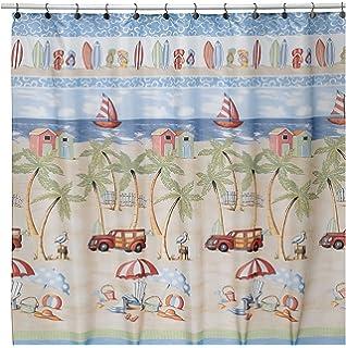 Curtains Ideas beach shower curtain : Amazon.com: Coastal Beach Fabric Shower Curtain: Home & Kitchen