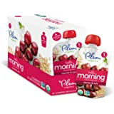 Plum Organics Hello Morning, Organic Baby Food, Cherries & Oats, 3.5 ounce pouch (Pack of 12)