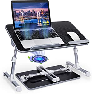 Laptop Table Stand Desk, iSeekerkit Adjustable Laptop Bed Tray Table, Portable Stand Desk with Cooling Fan, Foldable Lap Table Tiltable Notebook Desk Compatible for Bed Sofa Couch Floor -Black