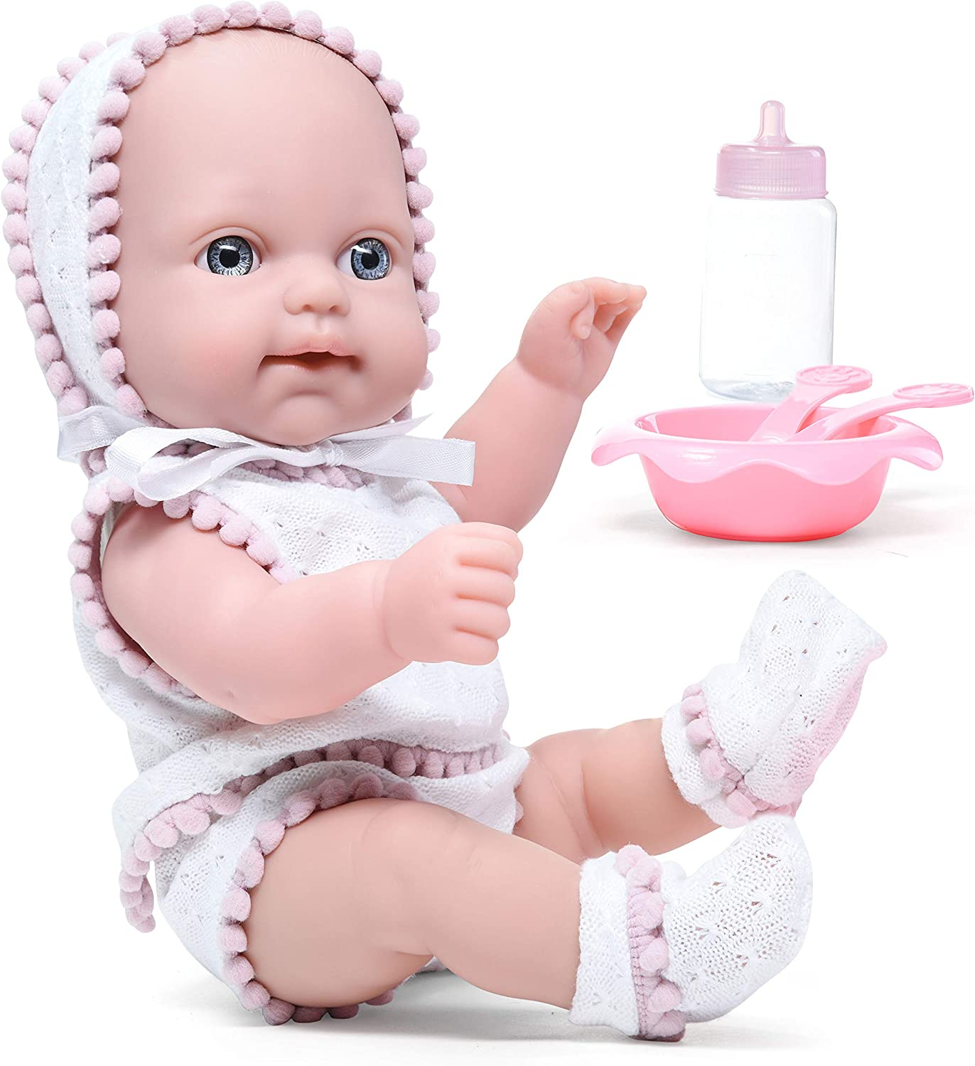 Litti Pritti Baby Dolls Set 10 Piece Realistic with Bottle, Baby Dolls Feeding Set & Outfit, Baby Dolls for 2 Year Old Girls and up Makes a Great Gift