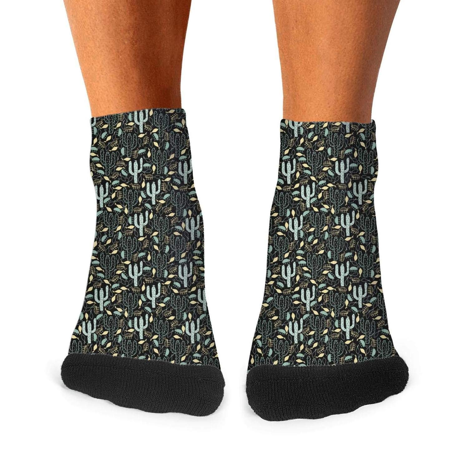 Mens athletic low cut Ankle sock Colored Cactus plant art Short Lightweight Sock