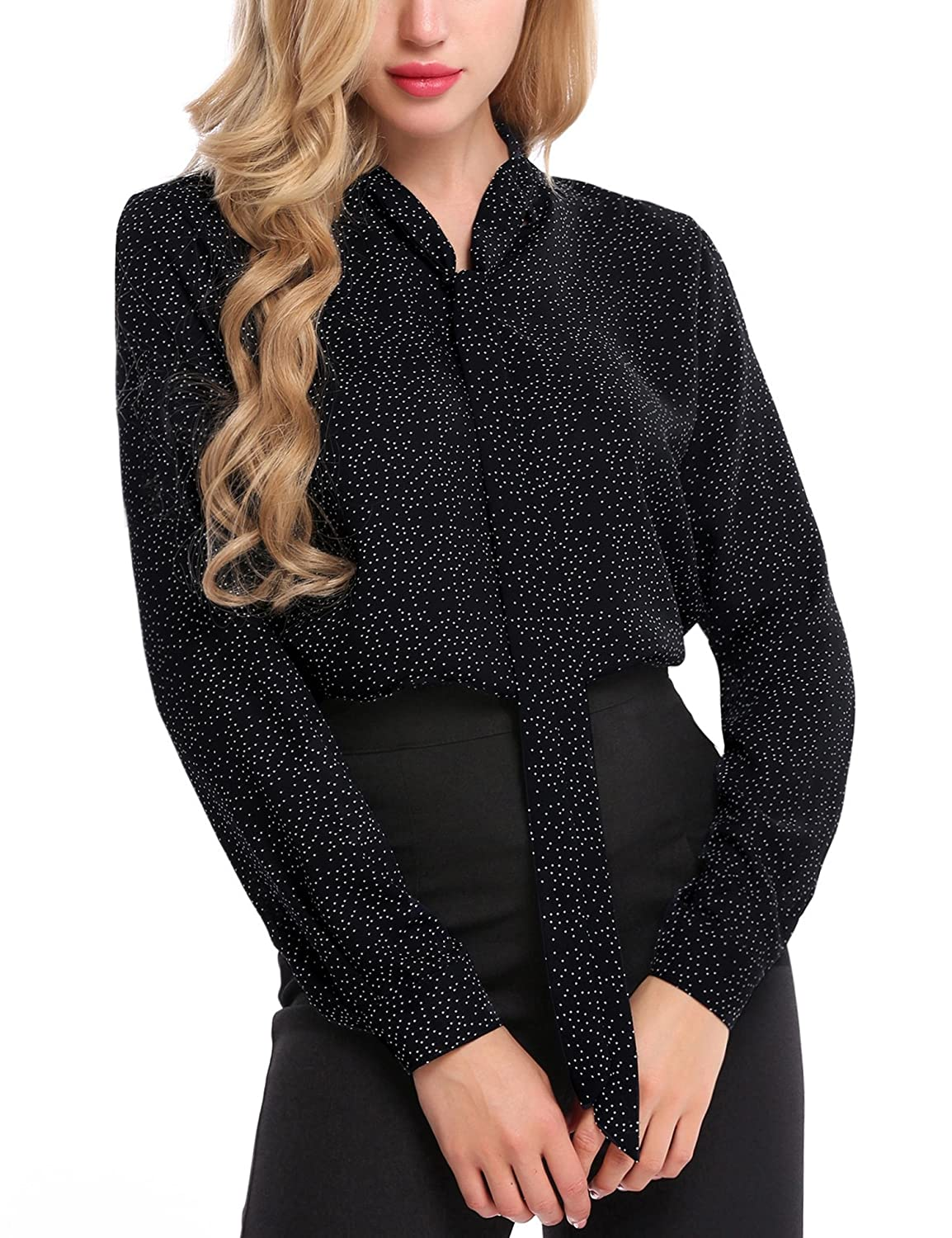 7696c034e97b4a Ladies Chiffon Blouse Tops features: Vintage stand collar, Tie-bow V neck,  Button cuffed sleeve, Long sleeve, High low rounded hemline, Pullover  style, ...