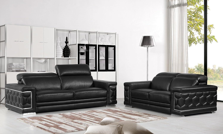Blackjack Furniture The Usry Collection 2-Piece Genuine Italian Leather  Living Room Sofa Set, Black