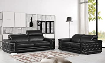 Remarkable Blackjack Furniture The Usry Collection 2 Piece Genuine Italian Leather Living Room Sofa Set Black Home Interior And Landscaping Thycampuscom