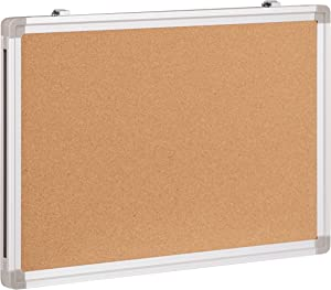 """Flash Furniture HERCULES Series 17.75""""W x 11.75""""H Personal Sized Natural Cork Board with Aluminum Frame"""
