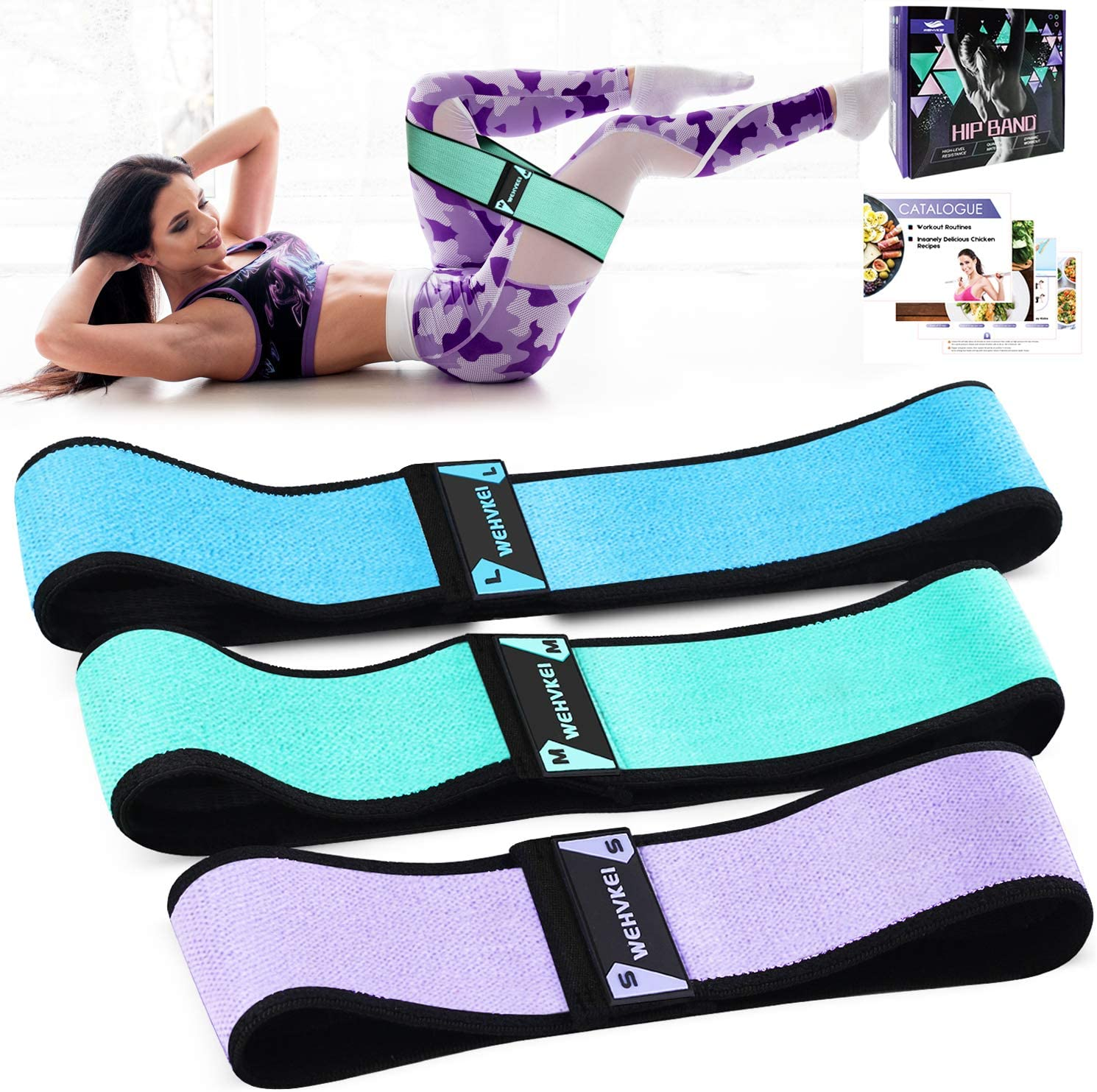 WEHVKEI Fabric Exercise Resistance Bands for Legs and Butt Perfect Activate Glutes and Thighs - Hip Loop Bands Circle, Non-Rolling Thick Wide Workout Resistance Set for Women and Men