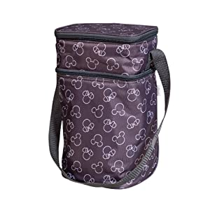 J.L. Childress Disney Baby 6-Bottle Cooler Breastmilk Cooler, Day Care & Lunch Bag for Baby Food & Bottles, Mickey Minnie Grey