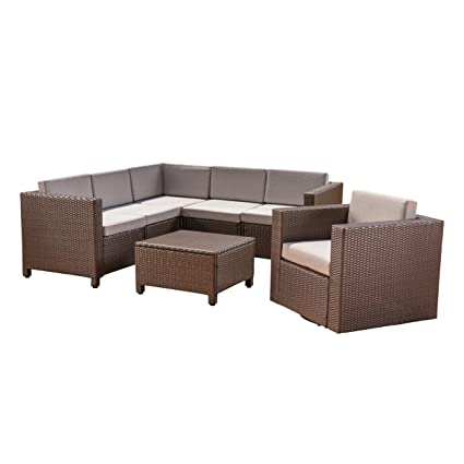 Swell Amazon Com Great Deal Furniture Phillips Outdoor 6 Seater Spiritservingveterans Wood Chair Design Ideas Spiritservingveteransorg