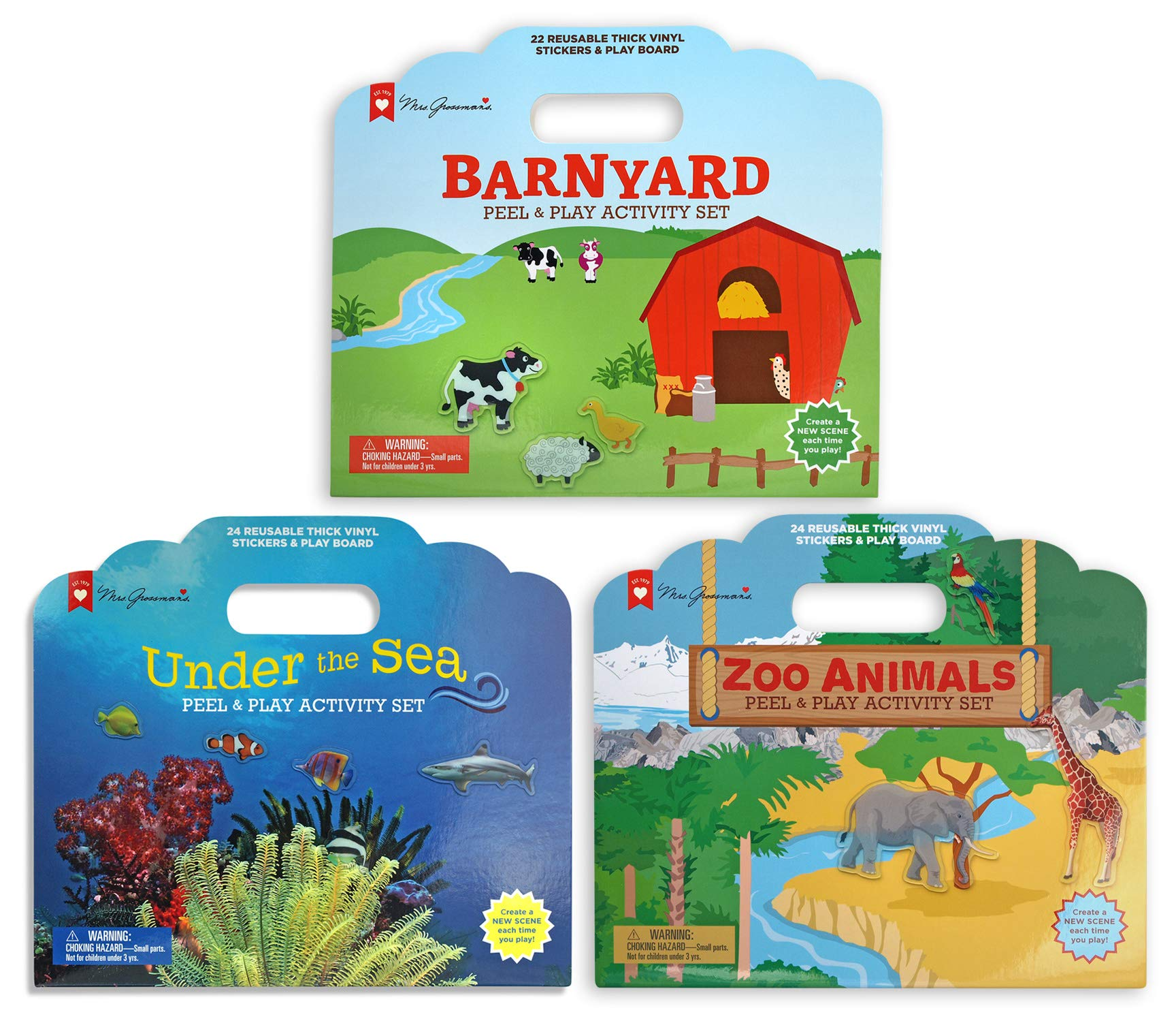 Mrs. Grossman's 71811 Peel & Play Activity Set - 3 Pack Animal Bundle - with Reusable Vinyl Stickers, Multicolor