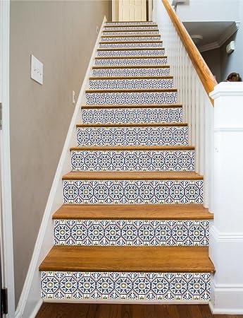 Wonderful Spanish Tile RiserArt 43u0026quot; X 15 Painted Stairway Decoration Adhesive Vinyl  Stair Riser Panels Easy