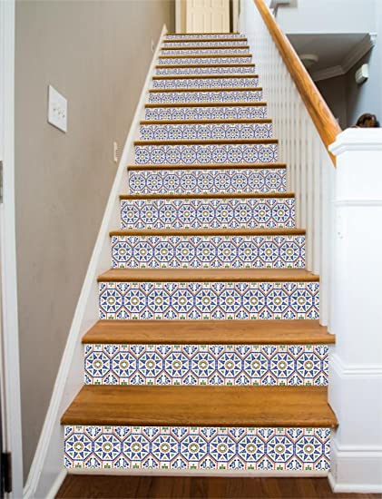 Spanish Tile RiserArt 43u0026quot; X 15 Painted Stairway Decoration Adhesive  Vinyl Stair Riser Panels Easy