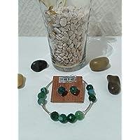 Conjunto de pulsera y pendientes de plata y de ágatas facetadas en verde. Adaptables 18,5 cm a 19,5 cm