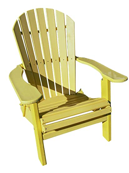 Exceptionnel Phat Tommy Recycled Poly Resin Folding Deluxe Adirondack Chair U2013 Durable  And Patio Furniture, Yellow
