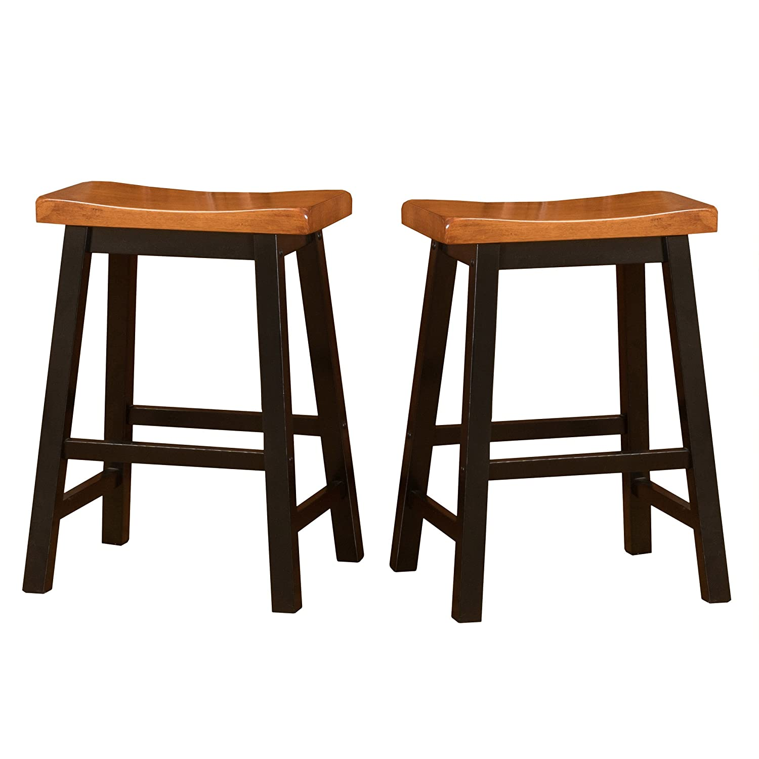 Toluca Saddle Wood Counter Stool (Set of 2) Great Deal Furniture