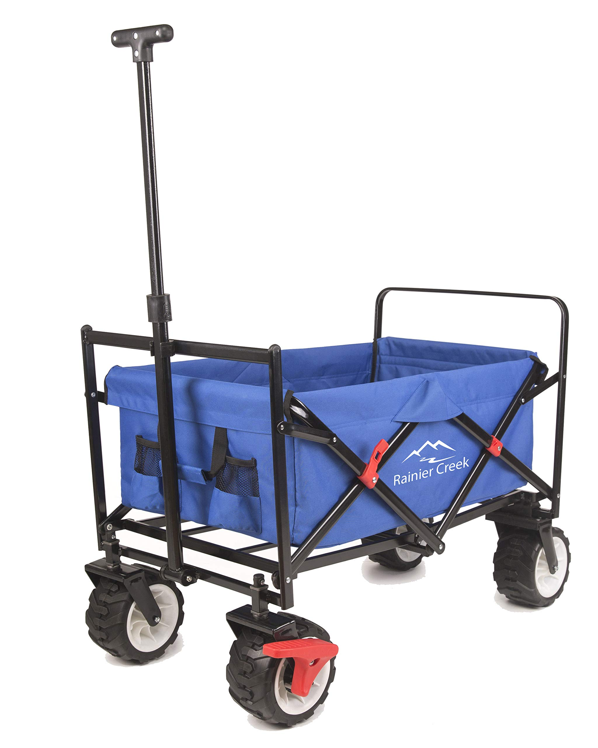 Rainier Creek Folding Wagon, Heavy Duty Collapsible Outdoor Utility Wagon Cart with All-Terrain Wheels and Brake, US Patented, 265 lbs Load Capacity, Blue