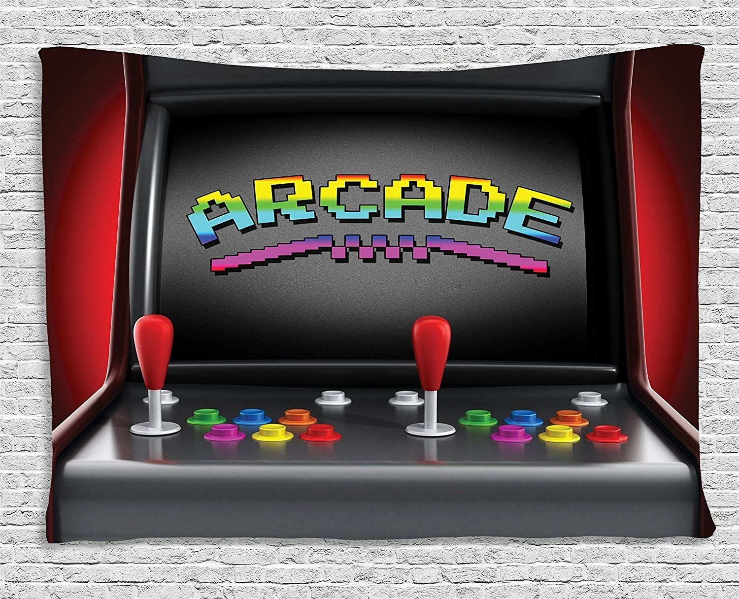 Ambesonne Video Games Tapestry, Arcade Machine Retro Gaming Fun Joystick Buttons Vintage 80's 90's Electronic, Wide Wall Hanging for Bedroom Living Room Dorm, 80