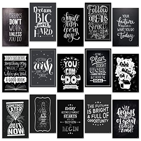 Wondrous Motivational Posters For Office Room Home Classroom Decorations Chalkboard 15 Set Inspirational Quotes Wall Decor Black White Pictures 13 X 19 Download Free Architecture Designs Grimeyleaguecom