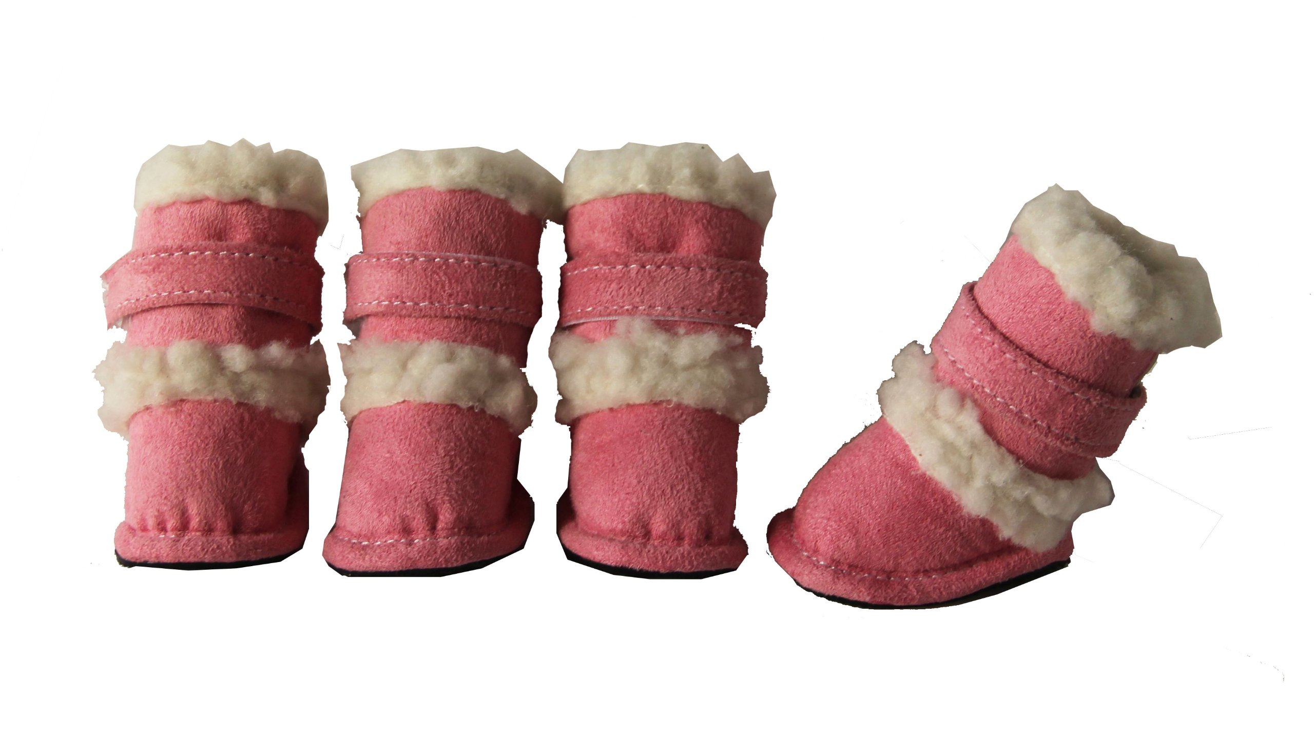 Pet Life DUGGZ' Shearling 3M Insulated Sherpa linned Fashion Designer Pet Dog Shoes Boots Booties, Large, Pink & White