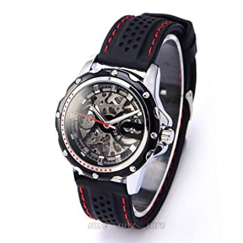 CLE DE TOUS Reloj de Pulsera para Hombre Movimento Mecanico Silicona Negro #A-531