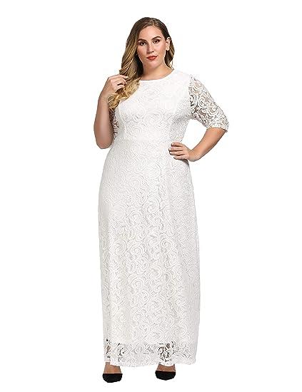 bdd90eb639c9 Chicwe Women's Stretch Plus Size Lace Evening Maxi Dress White Ivory ...