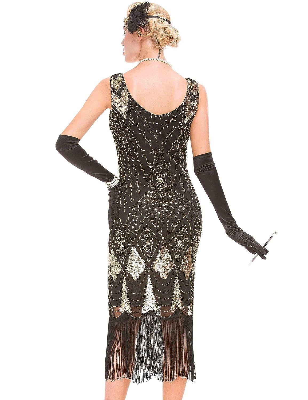 Abito da Donna Ispirato al Gatsby Vintage Abito da Cocktail con Flapper degli Anni 20