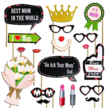 Amazoncom Mothers Day Decorations Photo Booth Props Best Mom In