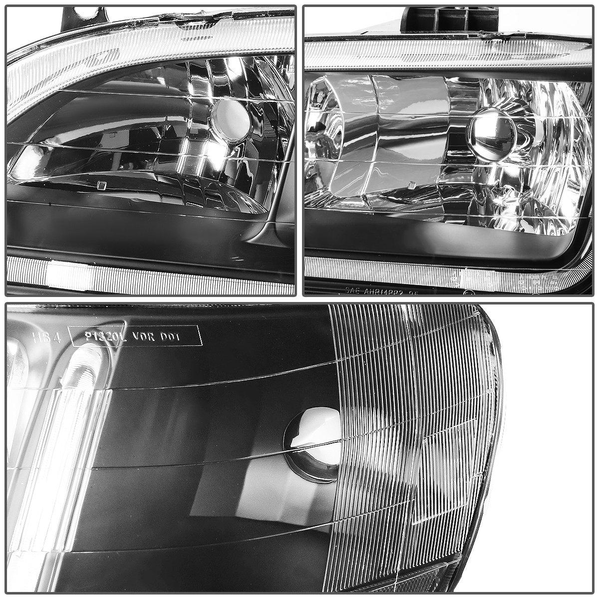 Driver /& Passenger Side DNA Motoring HL-LB-HA98-BK-CL1 Headlight Assembly