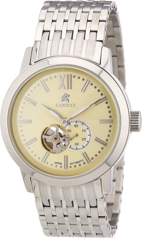 Carucci Watches CA2193CR - Reloj analógico automático para hombre, correa de acero inoxidable color plateado