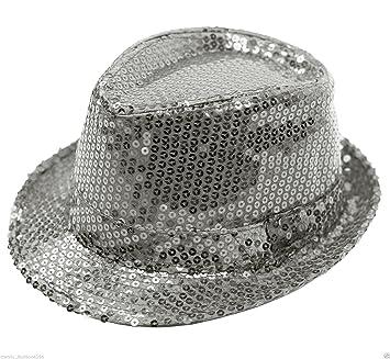 SILVER SEQUIN TRILBY HAT GANGSTER CLUB WEAR FANCY DRESS ACCESSORY (OneSize   444e59db09bd