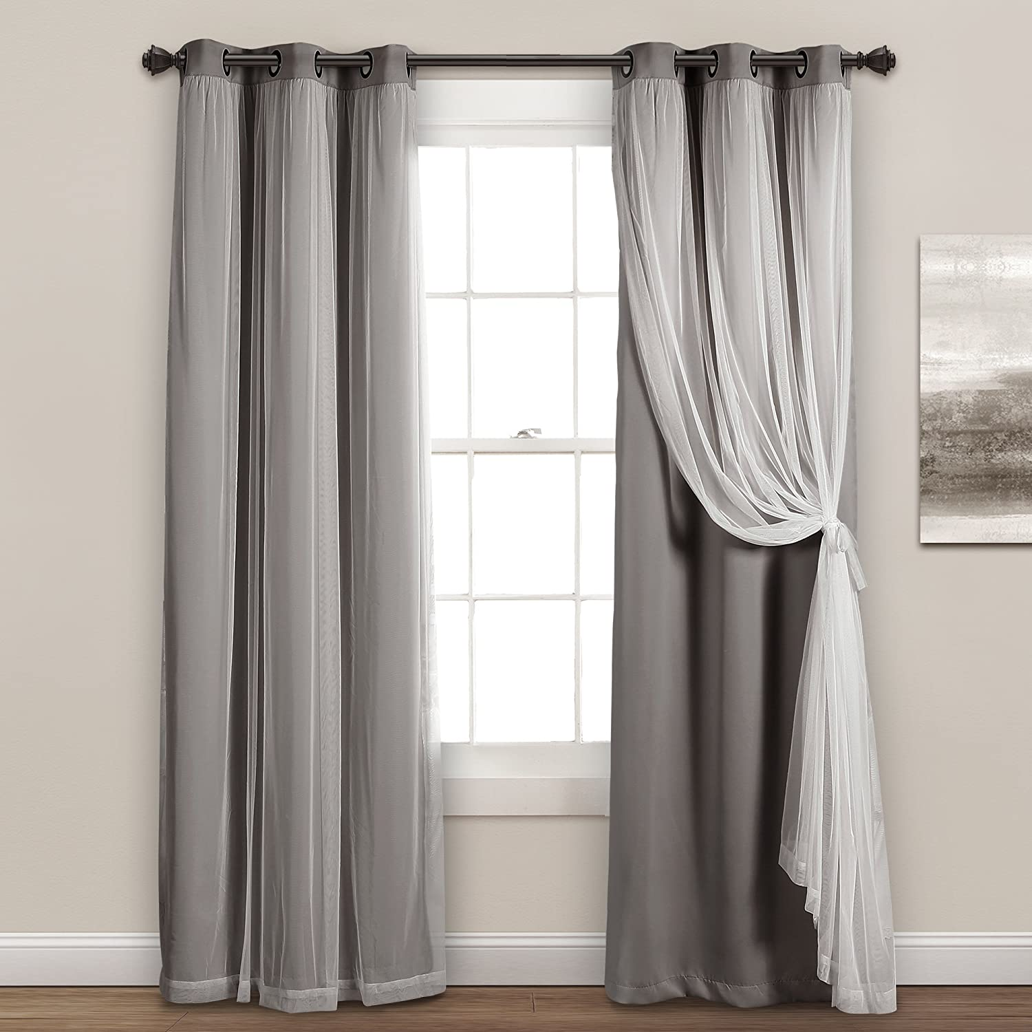Lush Decor Sheer Grommet Panel with Insulated Blackout Lining, Room Darkening Window Curtain Set (Pair), 84