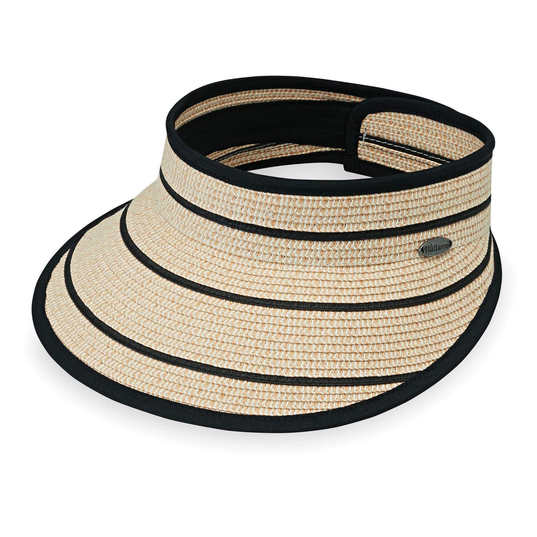 Wallaroo Hat Company Women's Savannah Visor - Camel/Black Stripes - Broad Brim Visor, Elegant Style, Designed in Australia by Wallaroo Hat Company