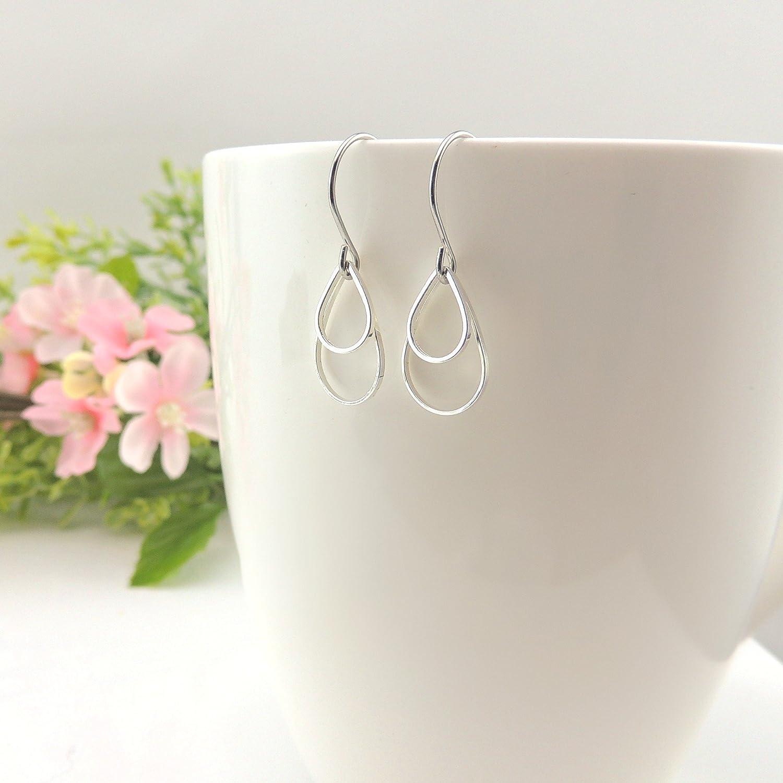Double Open Teardrop Dangle Earrings on Nickel-Free Stainless Steel, Silver-Tone