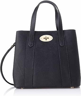 Club Aldo Front Metal Lock Top Handle Handbag with Adjustable Shoulder Strap for Women - Black