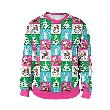 KXIN Feas 3D Impresa Navidad Sudaderas Festival De La Mujer Viento Casual Saltadores Manga Larga Camiseta Deportiva Sudadera,XXL: Amazon.es: Hogar