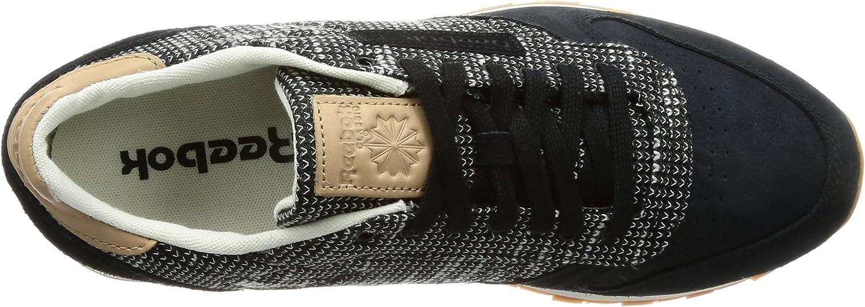Reebok Cl Leather Ebk, Chaussures De Running Homme Noir Black Stark Grey Sand Stone Gum