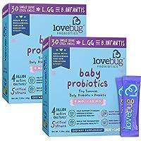 Lovebug Probiotics for Babies, Probiotics & Prebiotics for 6 to 12 Months Old Babies, Pack of 60 Sticks