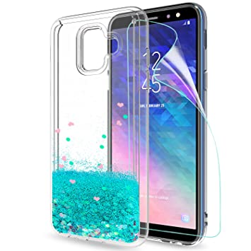 LeYi Funda Samsung Galaxy A6 2018 Silicona Purpurina Carcasa con HD Protectores de Pantalla,Transparente Cristal Bumper Telefono Gel TPU Fundas Case ...