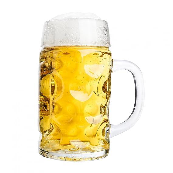 Van Well conjunto de 2 jarras de medio litro, graduado a 0,5L, jarras de cerveza con asa, apto para lavaplatos, se presta perfectamente para la ...