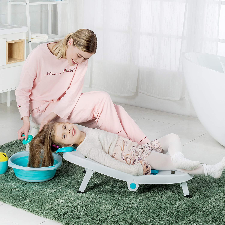 Kids Hair Washing Chair Bather, Children Shampoo Chair Bath Seat, Toddler Tear-Free Rinser Salon Chair for Girls Boys (Blue)