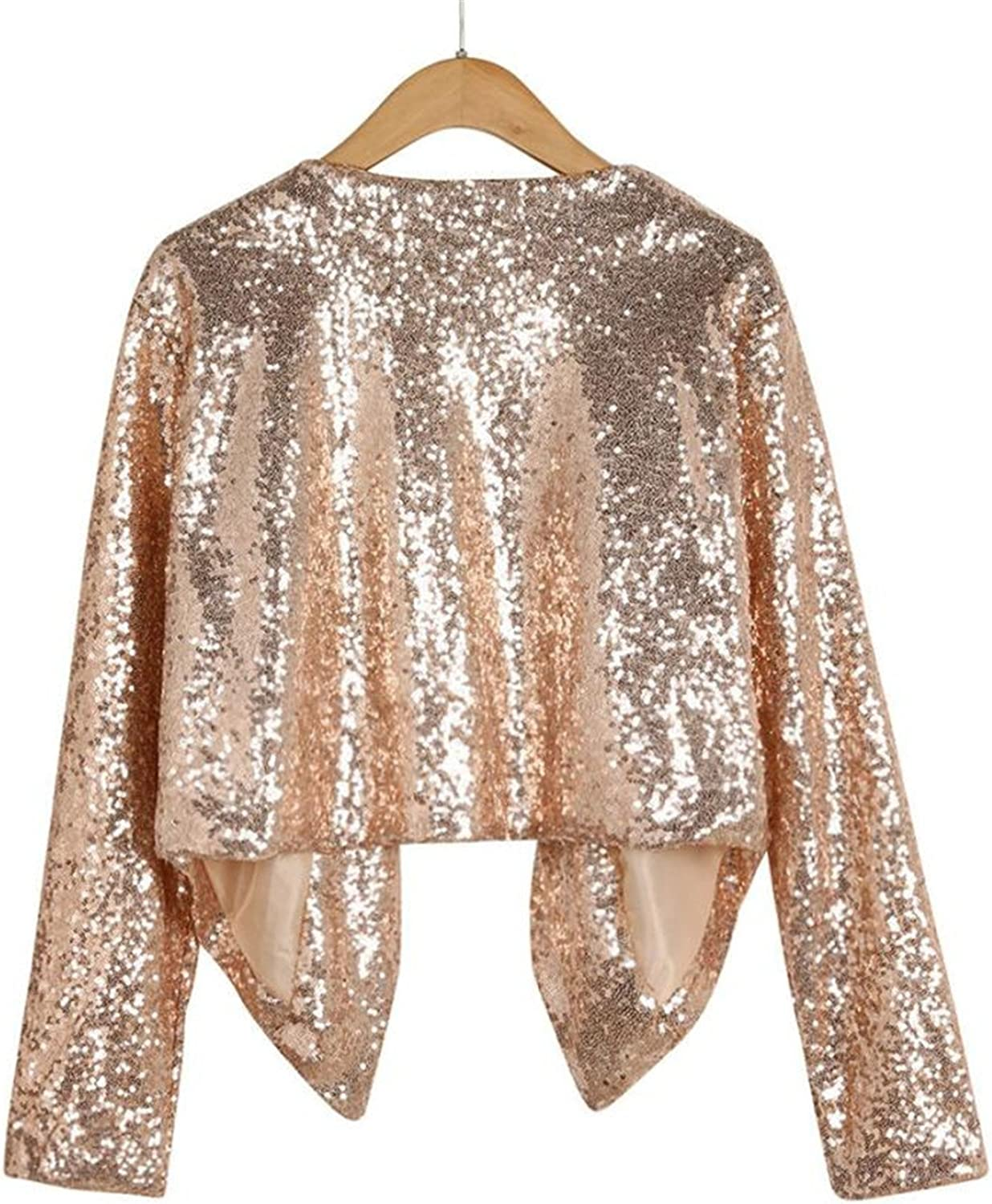 NENGWENWU Women Open Stitch Long Sleeve Solid Sequined Irregular Cardigan Tops Cover up Coat