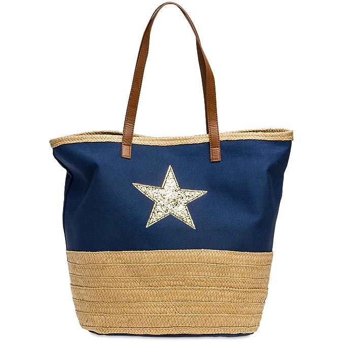 CASPAR TS1041 XXL Bolso de Mano Grande para Mujer/Bolso de Hombro de Playa con Estrella Brillo y Rafia, Color:azul oscuro;Tamaño: Talla Única: Amazon.es: ...