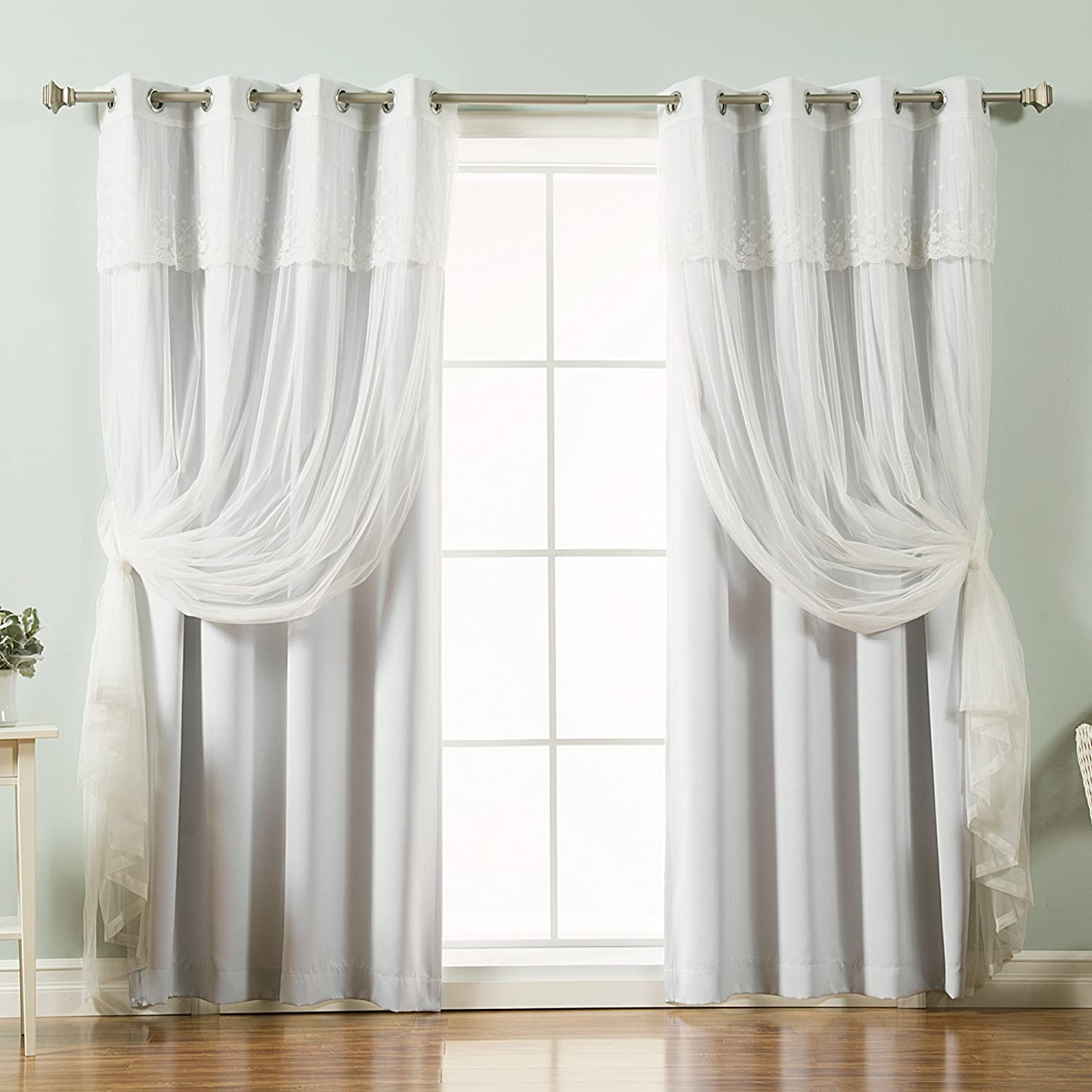 Best Home Fashion Mix & Match Tulle Sheer with Attached Valance & Solid Blackout Curtain Set